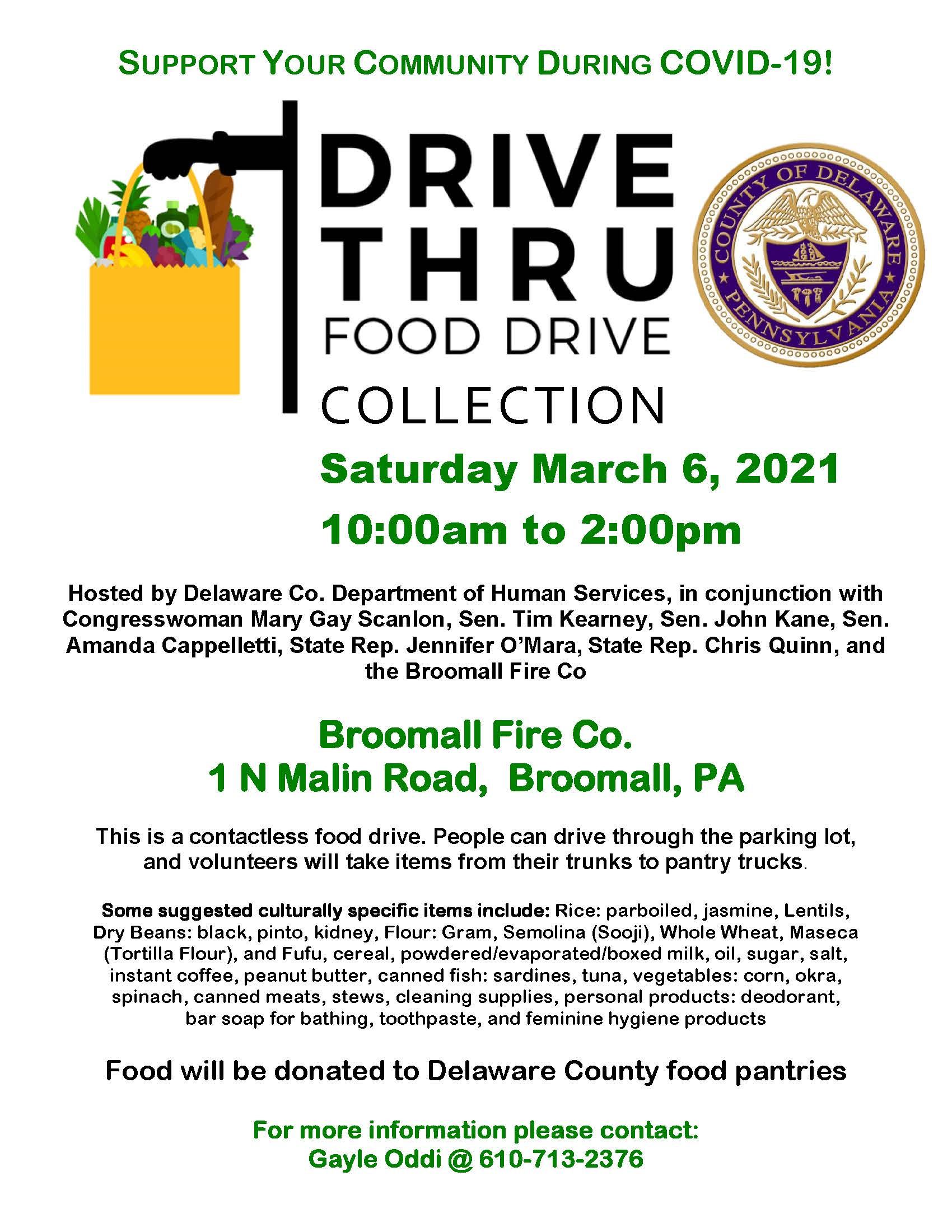 Food Drive Flyer (March 6 Broomall)